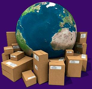 boîtes en carton à travers le monde- concept 3d d'expédition global